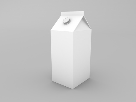 Milk package mockup packaging on gray background. 3d render illustration.