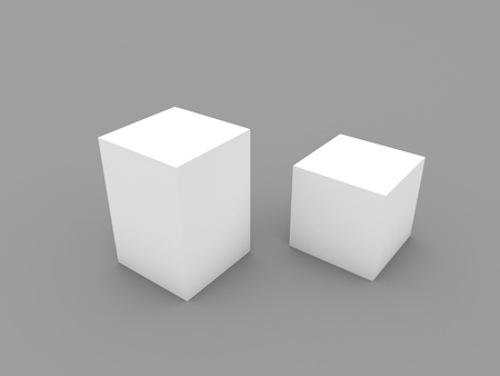 Two closed boxes mockup on a white background. 3d render illustration.