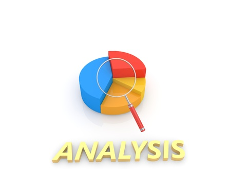 Graph of statistics and magnifying glass on a white background. 3d render illustration.