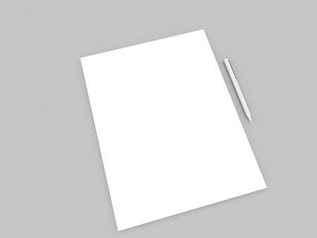 Pen and a sheet of white paper on a gray background. 3d render illustration.