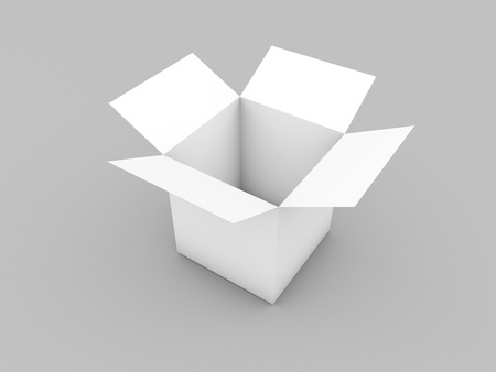 Open box mockup on white background. 3d render illustration. 写真素材