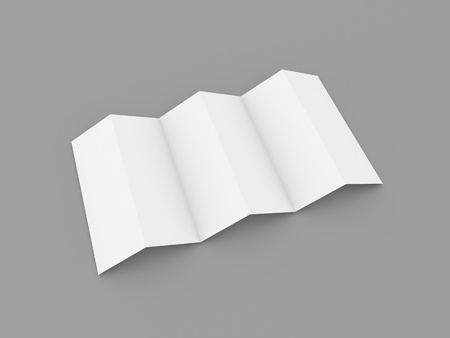 White brochure layout on gray background. 3d render illustration.