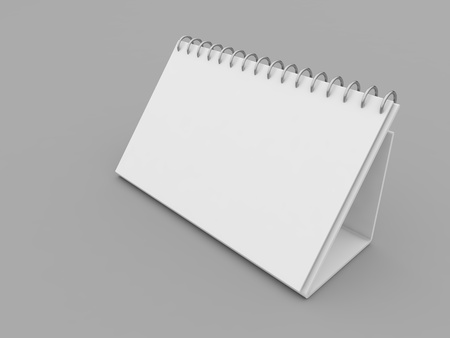White spiral calendar mockup on gray background. 3d render illustration. Фото со стока