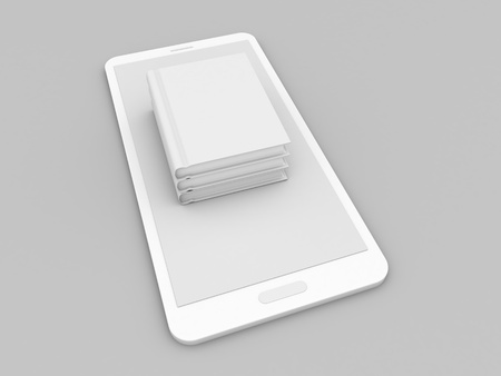 Books mockup mobile phone on gray background. 3d render illustration.
