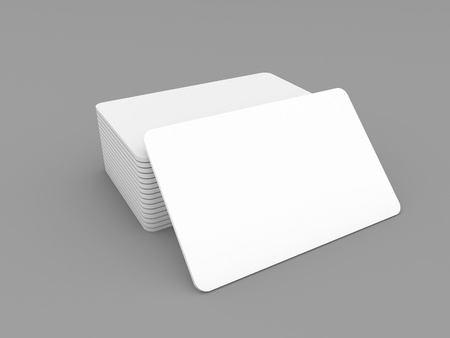 Stack of business cards on a gray background. 3d render illustration. Фото со стока