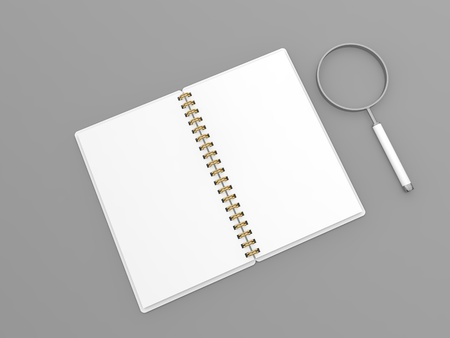 Notepad and magnifying glass layout on a gray background. 3d render illustration.