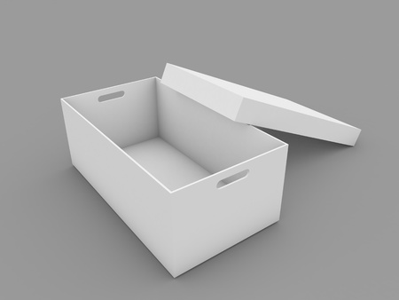 Open blank box mockup on white background. 3d render illustration.