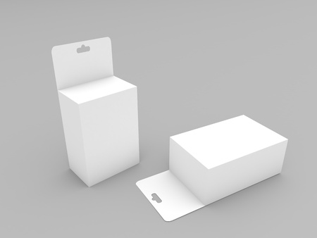 Cardboard boxes with a hanger mock up on a white background. 3d render illustration.