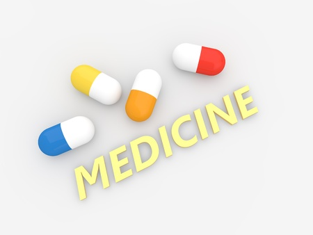 Medical pills on white background. 3d render illustration.