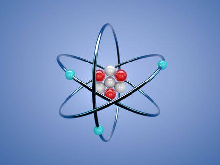 Atom structure on a blue background. 3d render illustration.