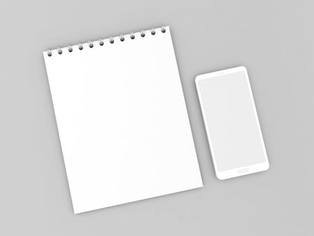 Notepad and mobile phone on a gray background. 3d render illustration. Stok Fotoğraf