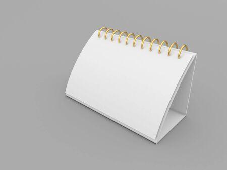 Blank mockup of desktop calendar on gray background. 3d render illustration.