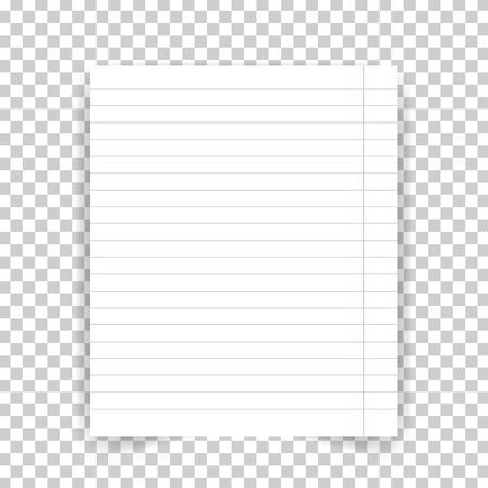 Striped school notebook paper sheet on transparent background. Vector illustration .