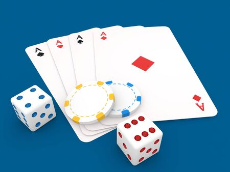 Playing cards casino chips and dice on a blue background. 3d render illustration. Banco de Imagens