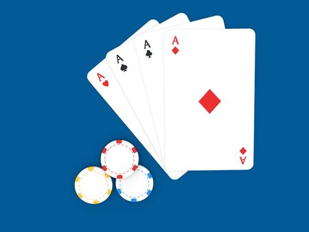 Playing cards and casino chips on a blue background. 3d render illustration.