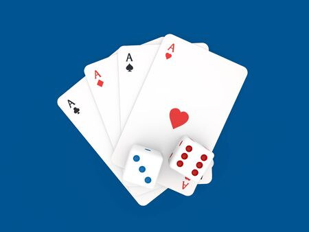 Playing cards and dice casino on a blue background. 3d render illustration.
