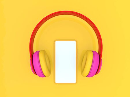 Headphones and smartphone mockup on a yellow background. 3d render illustration.