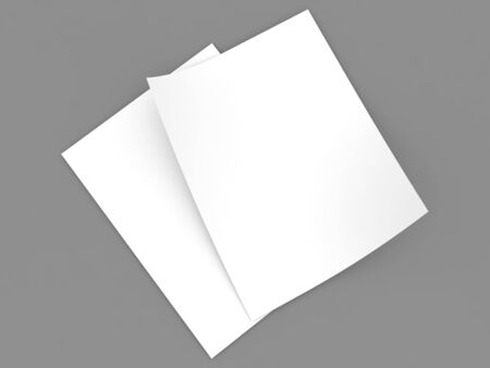 Two sheets of A4 office paper on a gray background. 3d render illustration.
