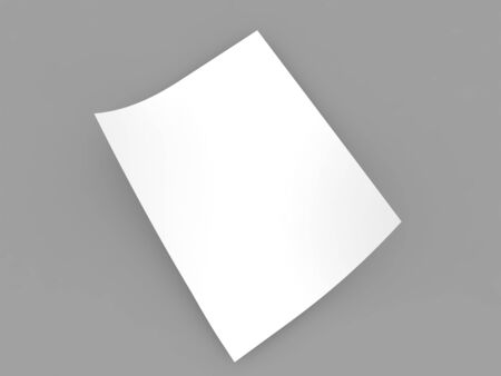 A sheet of curved A4 paper on a gray background. 3d render illustration.