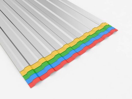 Colored sheets of metal profiles for the roof on a white background. 3d render illustration. 版權商用圖片