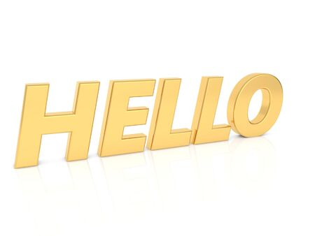 Hello - inscription in gold letters on a white background. 3d render illustration.