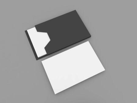 Mockup of business cards on a gray background. 3d render illustration.