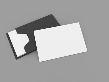 Business card blank mockup on gray background. 3d render illustration.