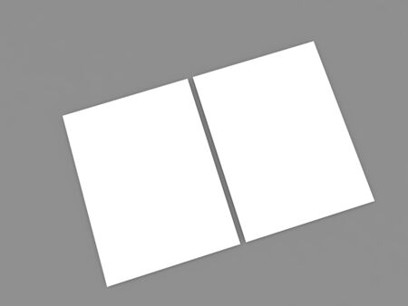 Two blank empty A4 paper sheets on a gray background. 3d render illustration.
