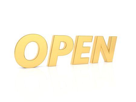 OPEN - inscription in gold letters on a white background. 3d render illustration. 版權商用圖片