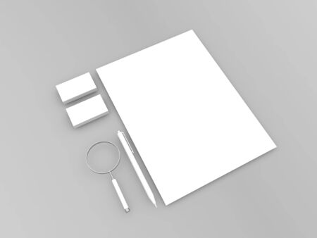 A4 paper sheet, magnifying glass, pen, business cards on a gray background. 3d render illustration. 版權商用圖片
