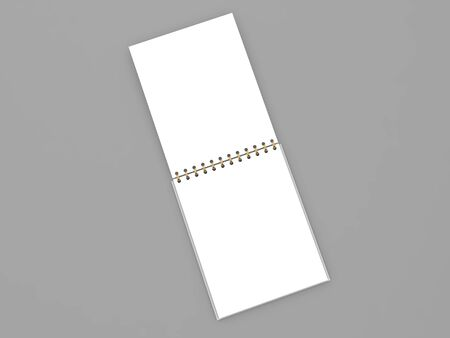 Blank open spiral notebook on a white background. 3d render illustration. 版權商用圖片