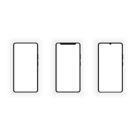 Mockup of smartphones on a white background. Vector illustration .