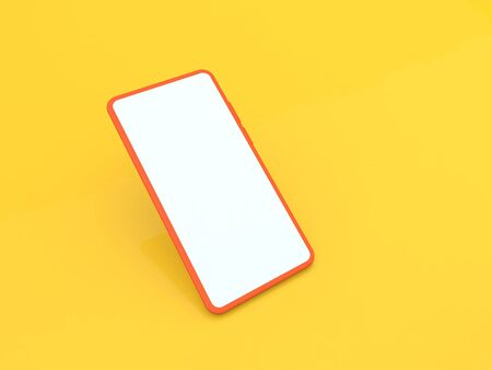 Smartphone mock up on a yellow background. 3d render illustration.