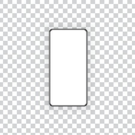 Blank screen smartphone mockup on transparent background. Vector illustration .