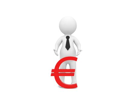 3d character and euro money sign on a white background. 3d render illustration.