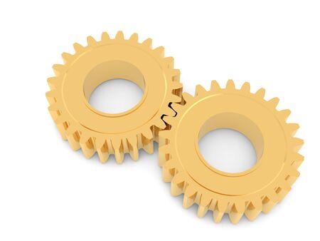 Golden gears on a white background. 3d render illustration. 版權商用圖片