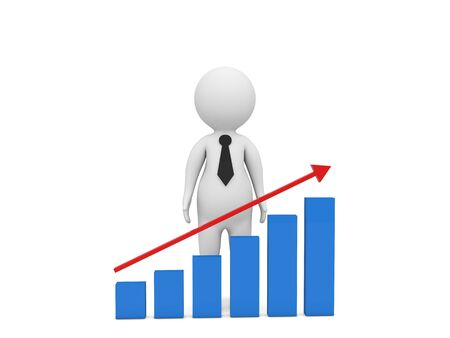 3d character businessman and growth graph on a white background. 3d render illustration. 版權商用圖片
