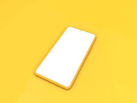 Blank smartphone mockup on yellow background. 3d render illustration.