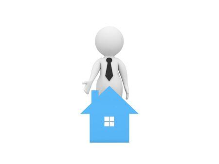 3d character businessman sells real estate. 3d render illustration.
