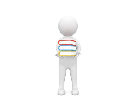 3d character holds books in hands on a white background. 3d render illustration.