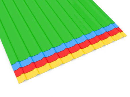 Metal profiles for the roof on a white background. 3d render illustration. 版權商用圖片