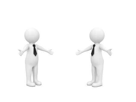 3d characters on a white background. Friendly meeting of two businessmen. 3d render illustration.