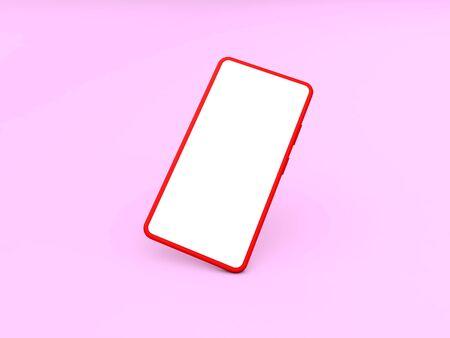 Blank smartphone on a pink background. 3d render illustration.