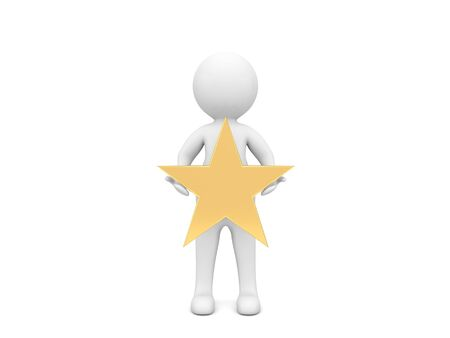 3d character with a gold star on a white background. 3d render illustration. 版權商用圖片