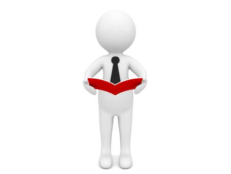 3d character is reading a book on a white background. 3d render illustration.