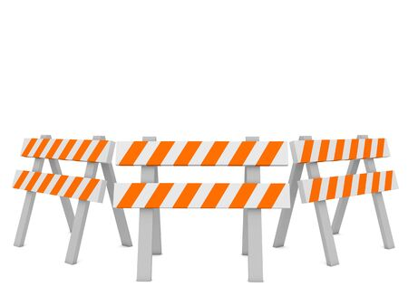 Construction fence barriers on a white background. 3d render illustration.