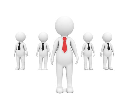 Businessman leader of his team 3d characters on a white background. 3d render illustration.