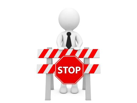 3d character with a construction barrier and a stop sign on a white background. 3d render illustration.
