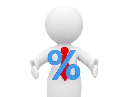 Businessman with percent symbol on a white background. 3d render illustration. 版權商用圖片