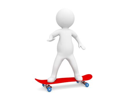 3d character is riding on a skateboard on a white background. 3d render illustration.